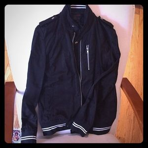 Black boutique brand bomber jacket, white accents